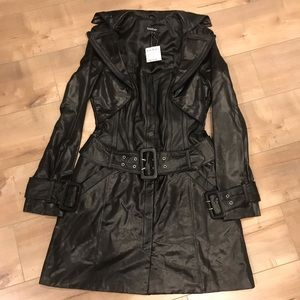BEBE $400 Faux Leather Bustier Coat Dress NWT